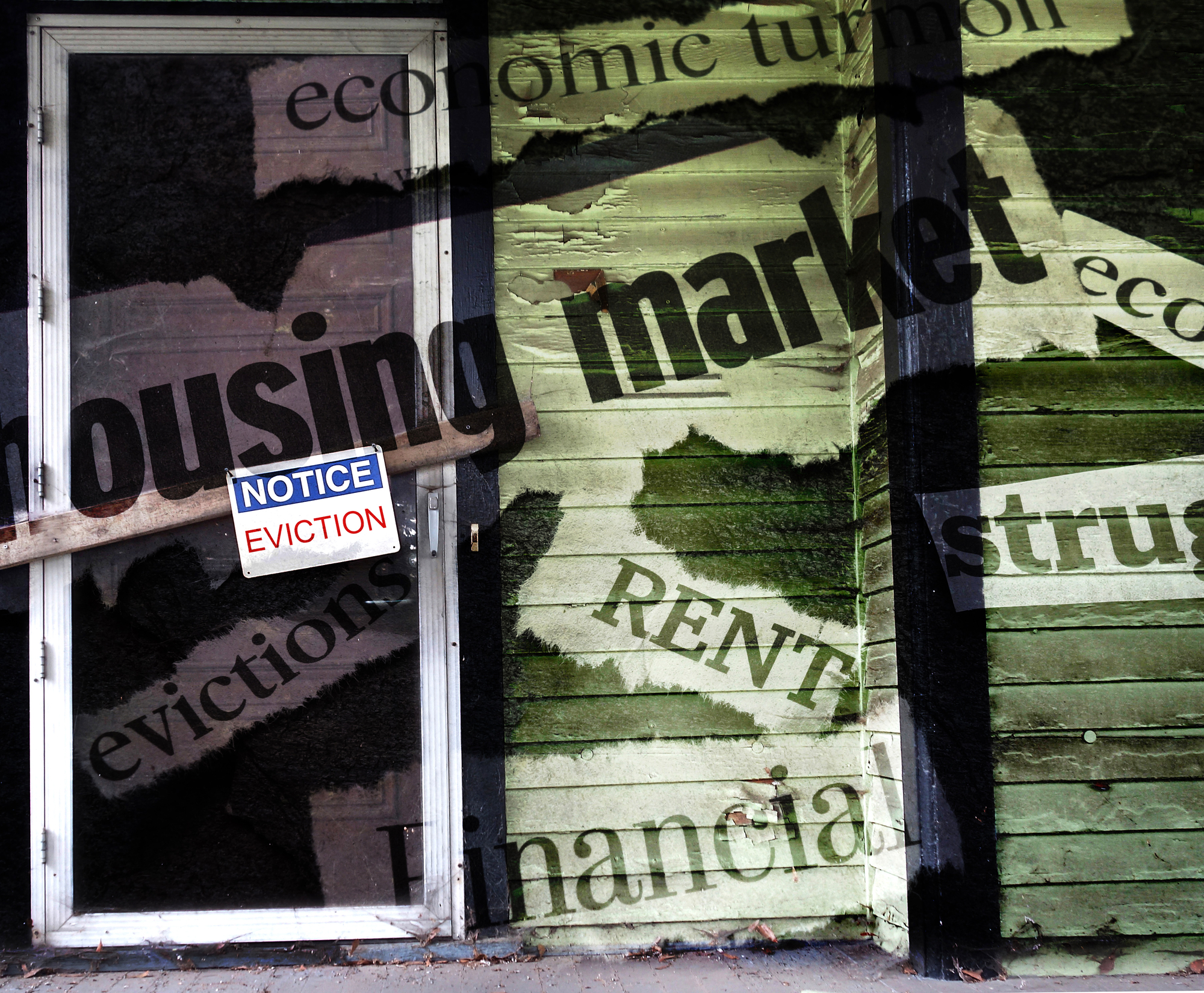 A house with an Eviction Notice on the door and economic news headlines