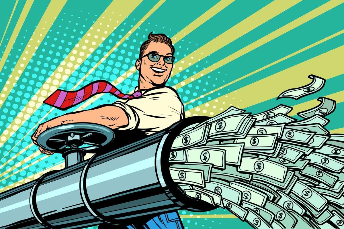 Businessman opens pipe, money Finance dollars flow (R) (S)