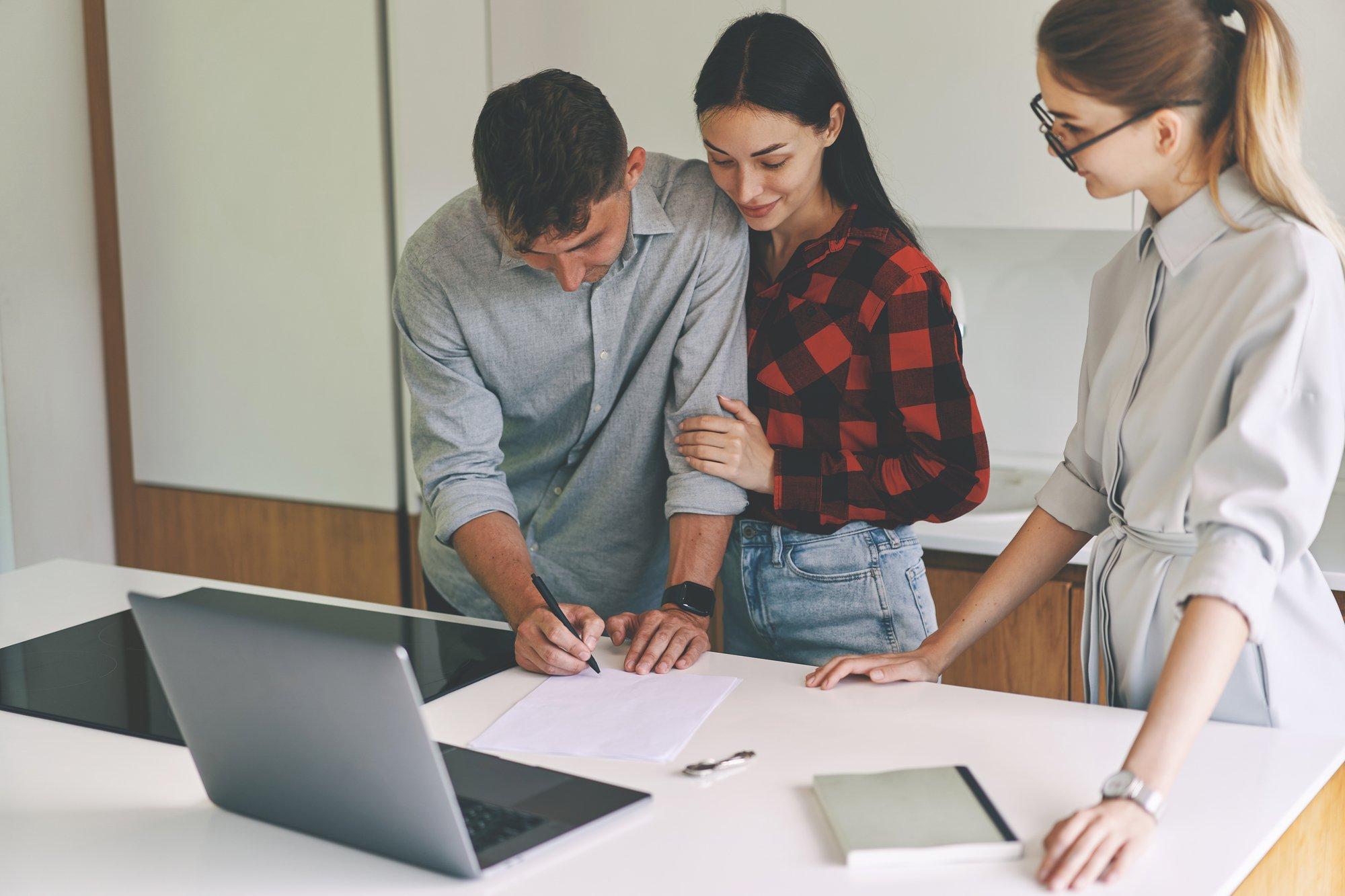 Successful business woman realtor advises clients
