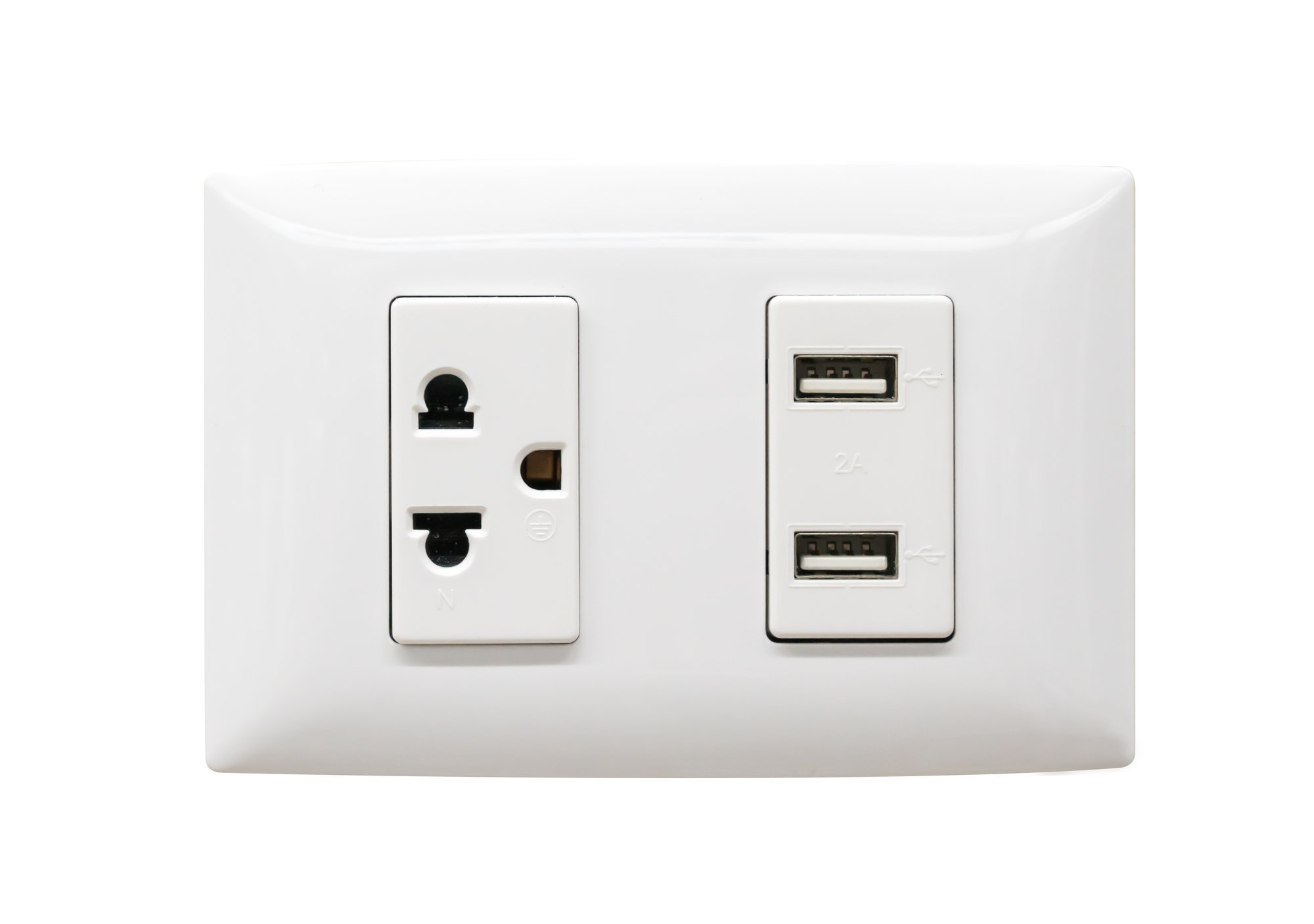 White electrical plug and USB wall outlet