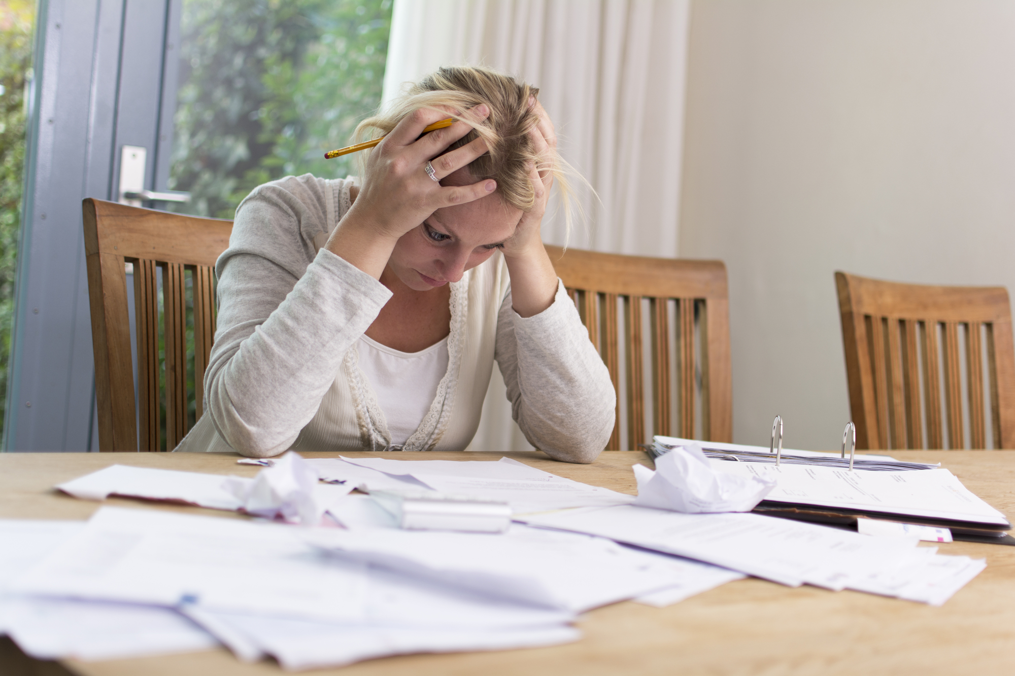 Woman with financial problems